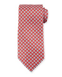 Stefano Ricci Small Flower Silk Tie Red White