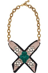 Lulu Frost Bette Bib Gold Plated Leather Crystal And Resin Necklace Metallic
