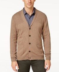 Tasso Elba Men's Big And Tall Faux Suede Shawl Collar Cardigan Only At Macy's Cocoa Bean Heather
