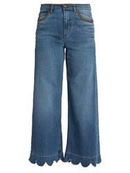 Red Valentino Scallop Edged High Rise Cropped Jeans Denim