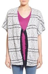 Women's Dex Stripe Poncho Cardigan With Fringe