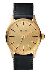 Nixon 'The Sentry 38' Leather Strap Watch 38Mm Gold Black