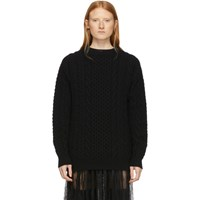 Ann Demeulemeester Black Wool Cable Knit Sweater