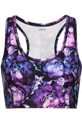 Yummie Tummie By Heather Thomson Printed Stretch Cotton Sports Bra Multi