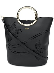 Tosca Blu Perforated Bucket Tote Black