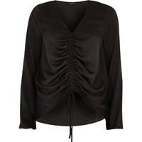 River Island Womens Black Ruched Front Long Sleeve Top