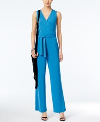 Ny Collection Petite Surplice Belted Wide Leg Jumpsuit Blue Sapphire
