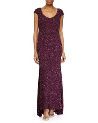 Theia Sequined V Neck Cap Sleeve Gown Berry