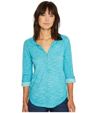 Ariat Caitlin Henley Drift Turquoise Women's Long Sleeve Button Up Blue