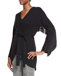 Lela Rose Fringe Back Tie Waist Cardigan Black