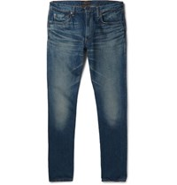 Beams Plus Slim Fit Washed Selvedge Denim Jeans Mid Denim
