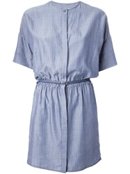 Sessun Pinstriped Shirt Dress Blue