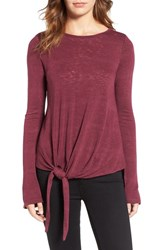 Velvet By Graham And Spencer Women's Tie Waist Burnout Top Passion