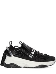 Dsquared 70Mm D Bumpy One Leather And Mesh Sneakers Black
