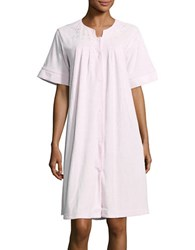 Miss Elaine Quilted Button Down Nightgown Pink