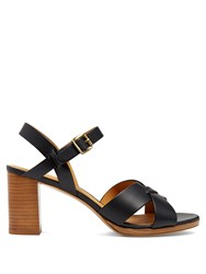 A.P.C. Opera Block Heel Leather Sandals Dark Navy