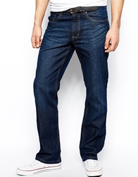 New Look Straight Fit Jeans In Dark Wash Blue