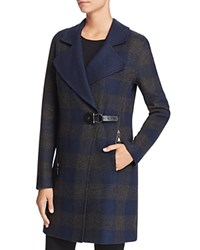 Dolce Vita Ingrid Long Plaid Coat Navy