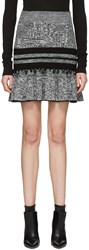 Alexander Mcqueen Black And Ivory Ruffled Miniskirt