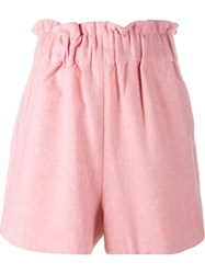 Ganni Felt Shorts Pink And Purple