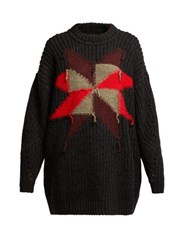 Isabel Marant Hakari Intarsia Knit Sweater Black Multi