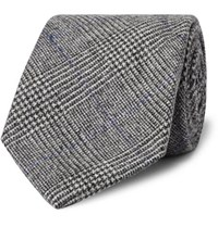 Kingsman Drake's 8Cm Prince Of Wales Checked Wool And Cashmere Blend Tie Gray