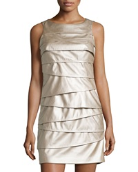 Vakko Metallic Faux Leather Combo Dress Champagne Black