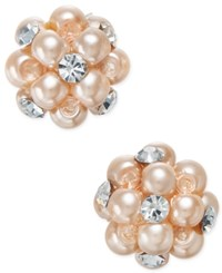 Charter Club Silver Tone Pink Imitation Pearl And Crystal Cluster Earrings Only At Macy's