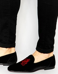 Asos Loafers In Black Velvet With Red Embroidery Black