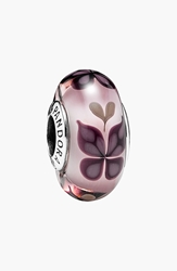 Pandora Design 'Pink Butterfly' Murano Glass Bead Charm Sterling Silver Murano