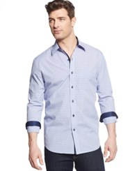 Tasso Elba Men's Big And Tall Long Sleeve Check Shirt Blue Combo