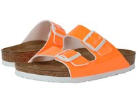 Birkenstock Arizona Neon Orange Patent Birko Flor Women's Dress Sandals