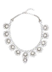 Erickson Beamon 'Jam' Swarovski Crystal Glass Pearl Bib Necklace Metallic