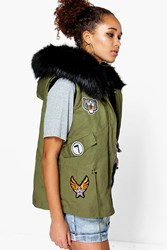 Boohoo Maisie Sleeveless Faux Fur Lined Parka Black