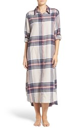 Dkny Women's Flannel Plaid Maxi Sleepshirt Frappe Heather Plaid