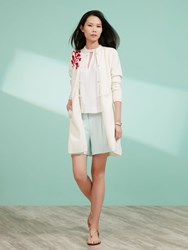 Shanghai Tang Long Cardigan With Chinese Blossom Embroidery White