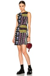 Marni Skyline Print Dress In Green Checkered And Plaid Stripes Abstract