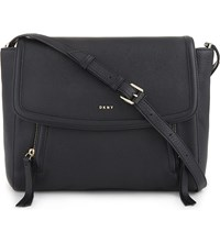 Dkny Chelsea Vintage Grained Leather Messenger Black
