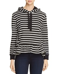 Kate Spade New York Striped Fleece Hoodie Black Off White