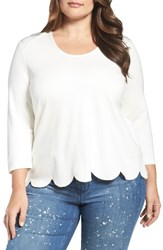 Melissa Mccarthy Seven7 Plus Size Women's Scallop Skimmer Knit Top Off White Egret