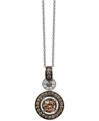 Le Vian Chocolatier Chocolate Deco Diamond Circle Pendant Necklace 3 4 Ct. T.W. In 14K White Gold