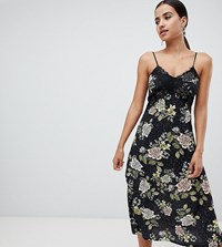 Missguided Lace Floral Midi Dress Black