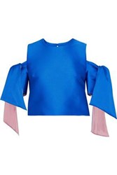 Milly Cold Shoulder Cropped Duchesse Satin Top Blue