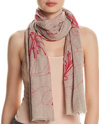 Fraas Embroidered Floral Oblong Scarf Pink
