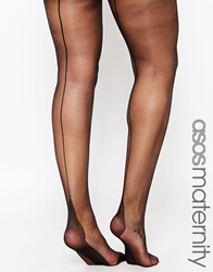 Asos Maternity Tights With Back Seam Detail And Supportive Band Black