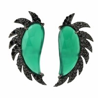Meghna Jewels Claw Half Moon Studs Green Onyx And Black Diamonds Black Green