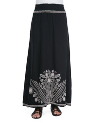 Johnny Was Embroidered Linen Maxi Skirt