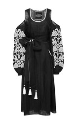 Yuliya Magdych Embroidered Linen Dress Black