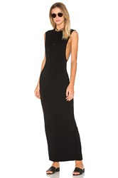 Bobi Jersey Sleeveless Back Slit Maxi Dress Black