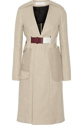 Victoria Beckham Jute And Silk Blend Canvas Trench Coat Nude